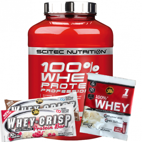 Scitec Nutrition - 100% Whey Protein Professional, 2350g Dose inkl. 2 Riegel & Produktprobe
