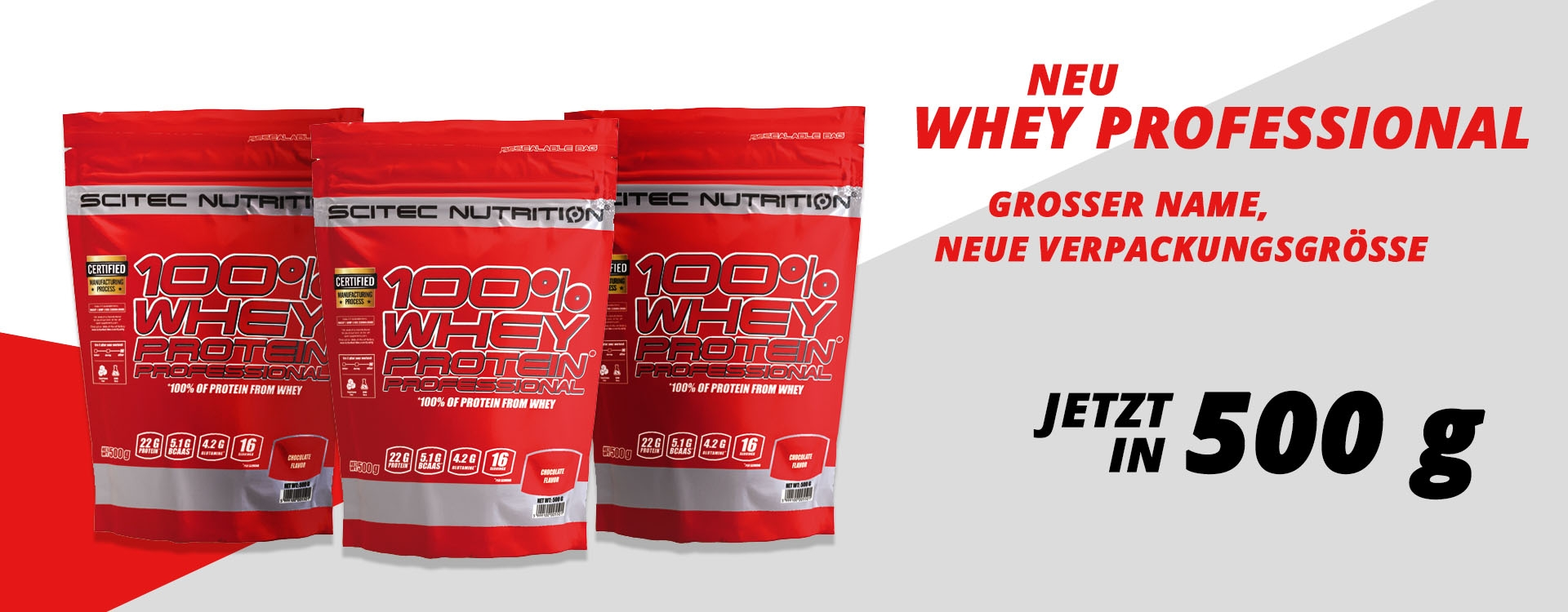 NEU: Scitec Nutrition - 100% Whey Protein Professional, 500g Beutel